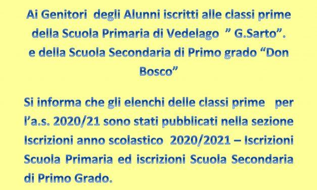 """Pubblicazione elenchi classi prime a.s. 2020/2021 Scuola Primaria """"G. Sarto"""" e Scuola Secondaria di I° """"Don Bosco."""